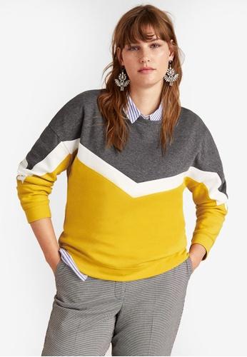 Violeta by MANGO grey Plus Size Mixed Cotton Sweatshirt F3CE6AA862F3A4GS_1