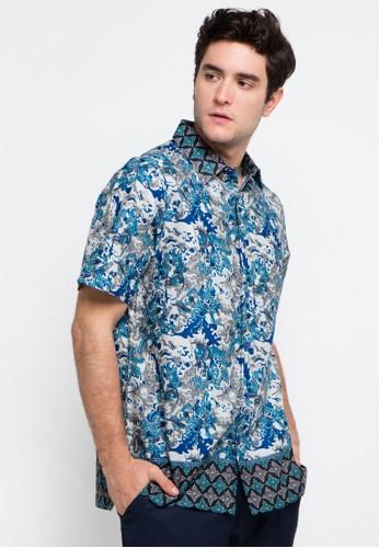 Batik Solo blue and multi Short Sleeve Cotton Print Shirt BA657AA0VD49ID_1
