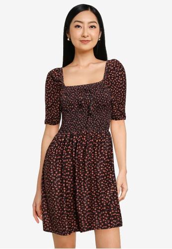 KOTON black Printed Mini Dress 88AB7AA6D2873EGS_1