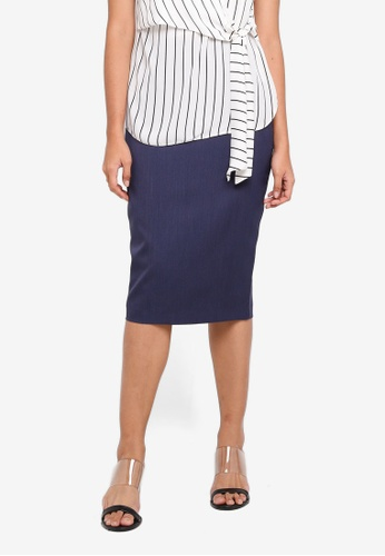 Dorothy Perkins navy Navy Twill Textured Skirt EF987AAC86584AGS_1