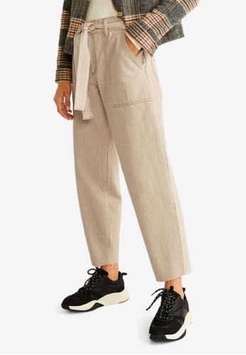 Mango beige Straight-Fit Belt Jeans E2B51AA5668E3BGS_1