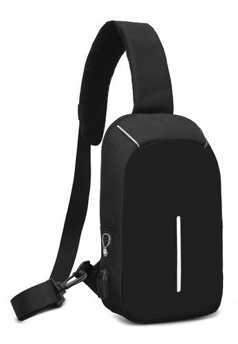 Jackbox black Korean Men's USB Charging Port Messenger Bag 350 (Black) 840EEAC91EB947GS_1
