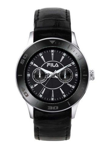 FILA Watches black Fila Silver and Black Leather Watch 5797CACF4BC2F1GS_1
