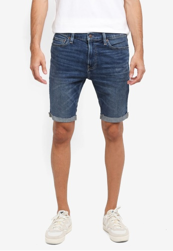 Hollister 藍色 Denim Super Skinny Clean Shorts 349C8AA45C78EBGS_1