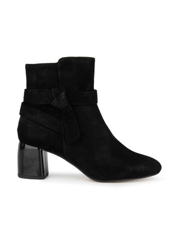 MAUD FRIZON black Kid Suede Ankle Boot With Tie Knot Straps Detail 9C9A8SH311E877GS_1