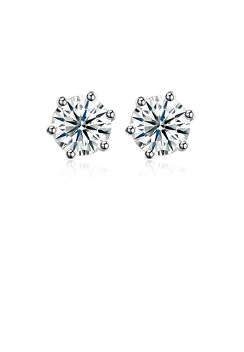 Glamorousky white 925 Sterling Silver Simple Geometric Round Cubic Zirconia Stud Earrings E4E32ACEBDED38GS_1