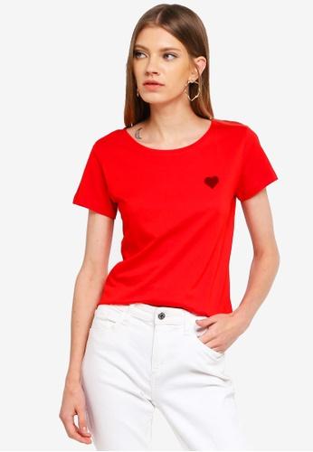 JACQUELINE DE YONG red Chicago S/S Print Top 73457AA7554D4FGS_1