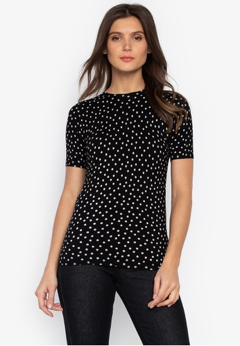 MARKS & SPENCER black Spotted Round Neck Short Sleeve Jumper C5410AA92F83BCGS_1