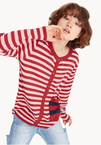 Pomelo red Thick Striped Button Cardigan BFF5AAA7D37595GS_1
