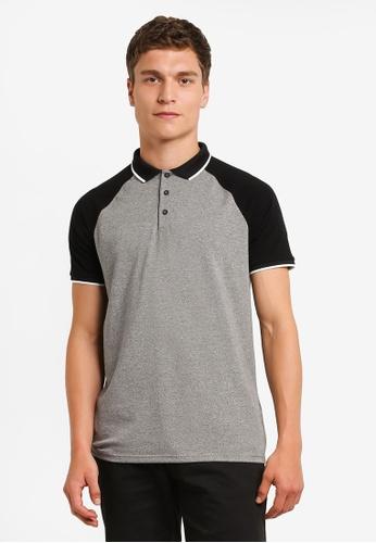 Burton Menswear London grey Grey Raglan Stretch Polo Shirt BU964AA0RM70MY_1