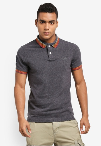 Superdry grey Classic Cali Short Sleeve Tipped Polo Shirt 40A04AA4D3EC97GS_1