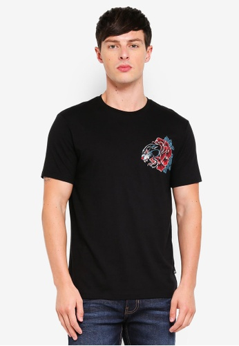 Burton Menswear London 黑色 Black T-Shirt With Panther And Rose Print FB278AACEB6CD1GS_1