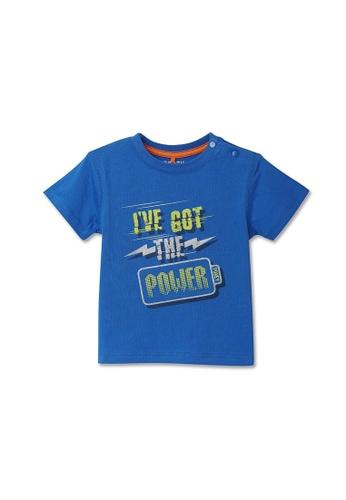 PONEY blue Poney Boy I've Got The Power Blue Short Sleeve Tee 8BB90KA0FCB808GS_1