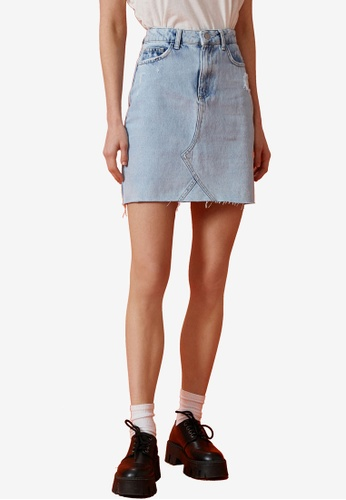 KOTON blue Frayed Denim Skirt 93CDFAACCAE1BAGS_1