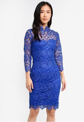 Paper Dolls blue 3/4 Sleeve Lace Dress PA721AA0SYM2MY_1