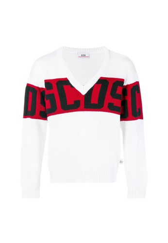 GCDS white Gcds enlarged logo V-neck Sweater in White 66479AA88FC140GS_1