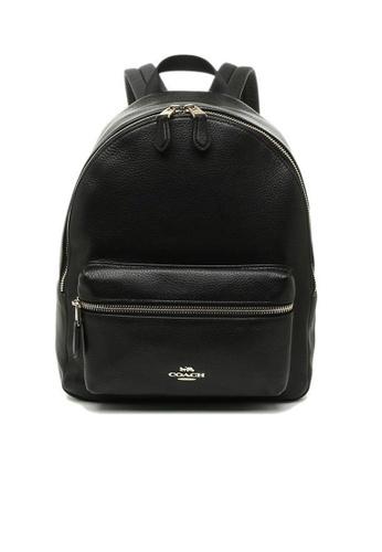 Coach black COACH Charlie Medium Backpack Pebble Leather Black E09A9AC2FD1FD7GS_1