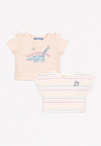 Gingersnaps white Baby Girls Stripes & Dino Printed T-Shirt 77850KA1F425C3GS_1