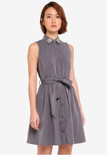 ZALORA grey Embellished Collar Dress 980B0AAA4CFC82GS_1