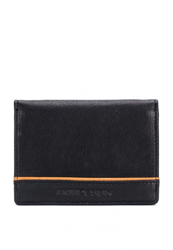 ENZODESIGN black Full Grain Cow Nappa Leather Card Holder With Center Divider C6469ACE560408GS_1