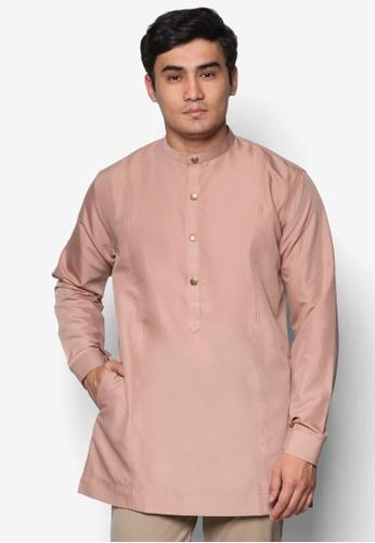 Amar Amran brown and beige Kurta  Al Hakim AM362AA65UOKMY_1