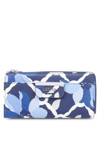 Guess blue Bobbi Slim Zip Wallet A4DA2AC79C5CA8GS_1