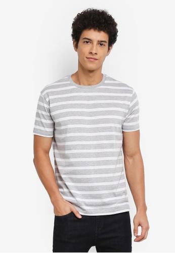 Penshoppe grey Striped T-Shirt 3A984AAE0BBF6CGS_1