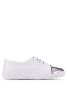 Crystal Korea Fashion white Slip Ons With Metallic Detail CR472SH81RQSMY_1