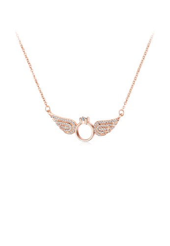 Glamorousky silver Fashion Plated Rose Gold Angel Wing Necklace with Cubic Zircon AA7F5AC50598B2GS_1