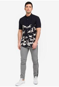 7c3251b6a7 River Island Short Sleeve Black Crane Shirt S  44.90. Sizes XS S M L