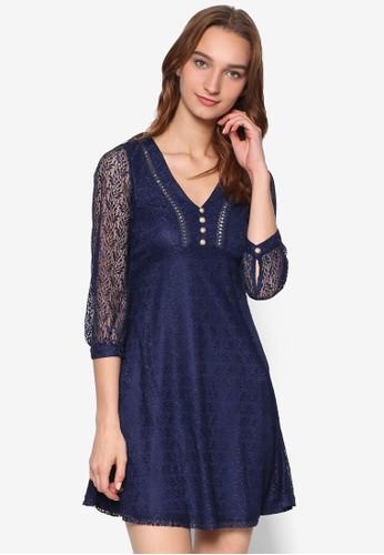 Calista 蕾絲七分袖連身裙, 服飾, 洋zalora時尚購物網評價裝