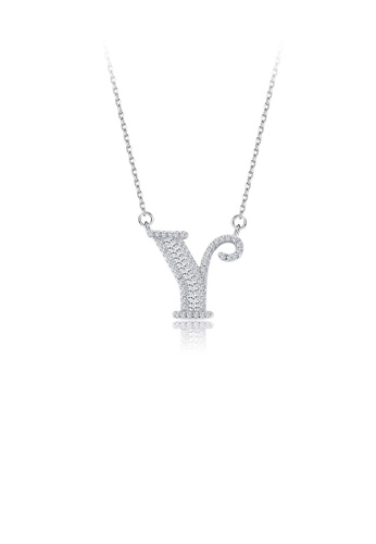 Glamorousky white 925 Sterling Silver Fashion Personality English Alphabet Y Cubic Zircon Necklace B0F4CACAE2C711GS_1