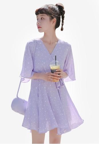 Shopsfashion purple Wrapped Floral Dress CBEC5AA73EA7EEGS_1