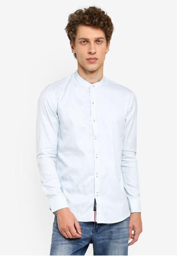 UniqTee blue Mandarin Collar Long Sleeve Shirt ED9CCAA5ABC9D3GS_1