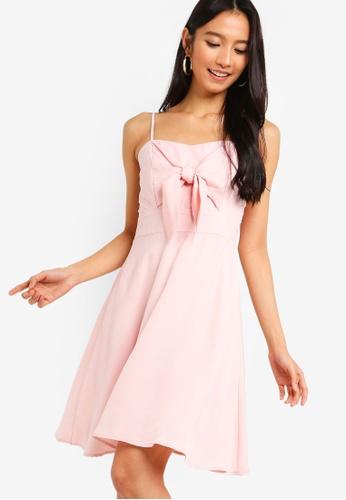 ZALORA pink Tie Front Flare Dress B49E4AA675EF1AGS_1