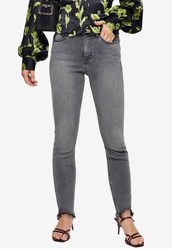 TOPSHOP grey PETITE Grey Jagged Hem Jamie Jeans 99DB1AAD2F0AC1GS_1
