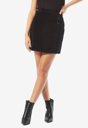 Dorothy Perkins black PETITE Black Wrap Corduroy Skirt A0415AA3091B32GS_1