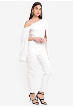 0736e4eca55 Lavish Alice white One Shoulder Cape Jumpsuit F006CAAC92F288GS 1