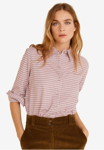 Mango pink Check Cotton Shirt 7CAF5AA3FAD433GS_1