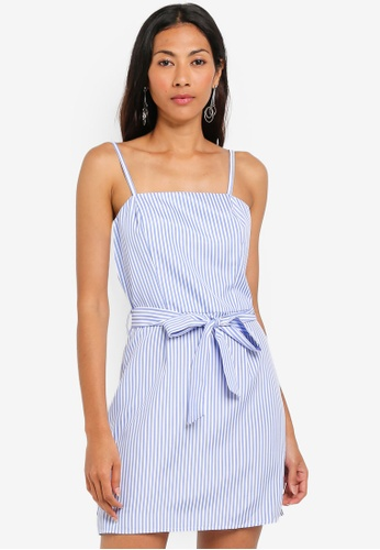 ZALORA BASICS blue Basic Strappy Dress With Tie CA5C7AA156FCBFGS_1