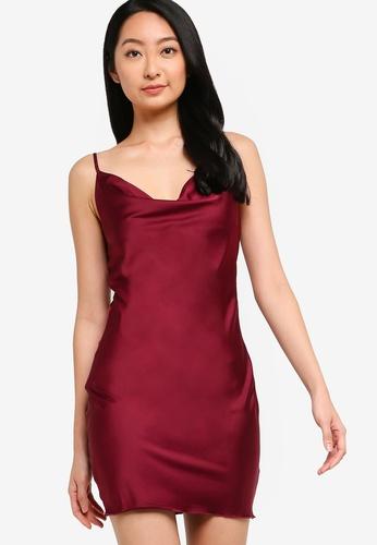ZALORA BASICS red Lounge Cowl Neck Slip Dress 1136BAA54ACB76GS_1
