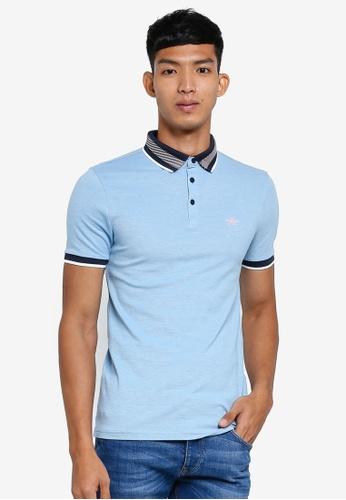 River Island 藍色 Pique Polo Shirt EDC5BAA218585DGS_1