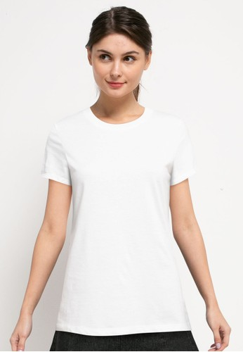 Tolliver white Round Neck Basic Short Sleeve Tee AD62CAA661120AGS_1