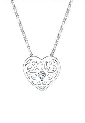 925 Sterling Silver Kalung Ornament Heart Swarovski® Lapis Rosegold Silver - Elli Germany