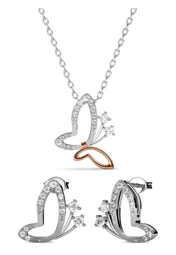 Her Jewellery silver Butterfly Wings Set - Made with Premium grade crystals from Austria 46AB5ACD227364GS_1