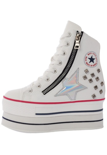 Maxstar CN9 8 Holes Double Platform Synthetic Leather Studed Taller Insole High Top Sneakers US Women Size MA168SH50BWNHK_1