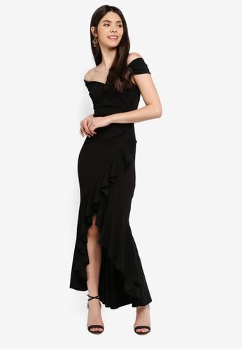Goddiva black High Low Frill Hem Maxi Dress B48B5AA59EB99DGS_1