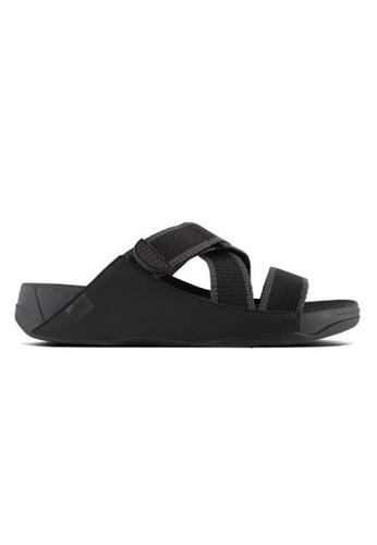 d3a2ede301b13a FitFlop black Fitflop Sling II Mens Leather Slide In Webbing (Black   Dark  Shadow)