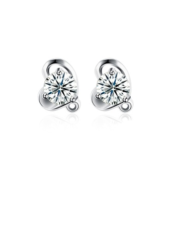 Glamorousky white 925 Sterling Silver Simple Mini Elegant Exquisite Heart Shape Earrings and Ear Studs with Cubic Zircon E3B13AC6D8AB2DGS_1