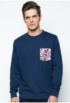 Pullover with Printed Pocket
